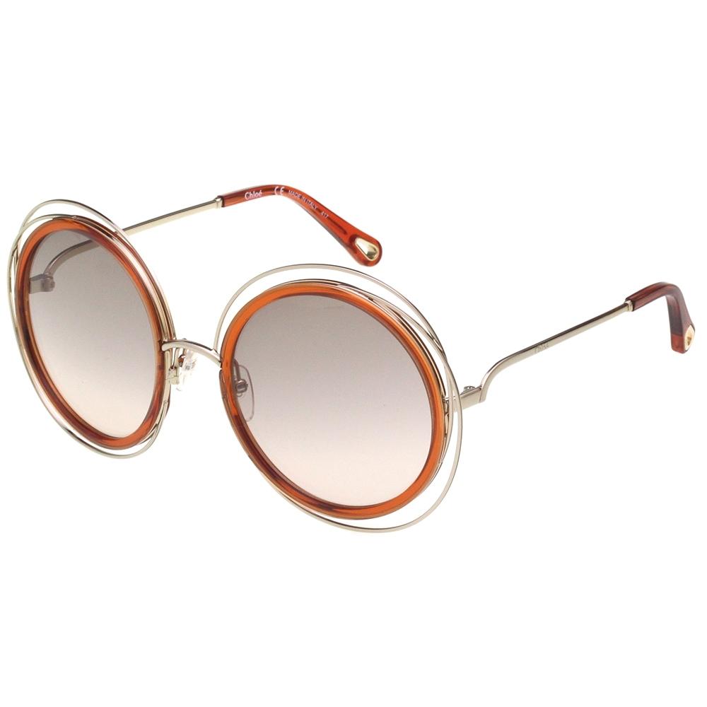 CHLOE金屬大框 太陽眼鏡(咖啡色)CE120SD