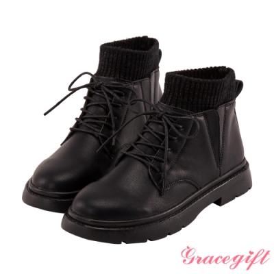 Grace gift-異材質拼接綁帶短靴 黑