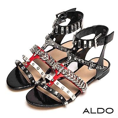 ALDO 原色蛇紋綴幾何水鑽魚骨繫踝粗跟涼鞋~尊爵黑色