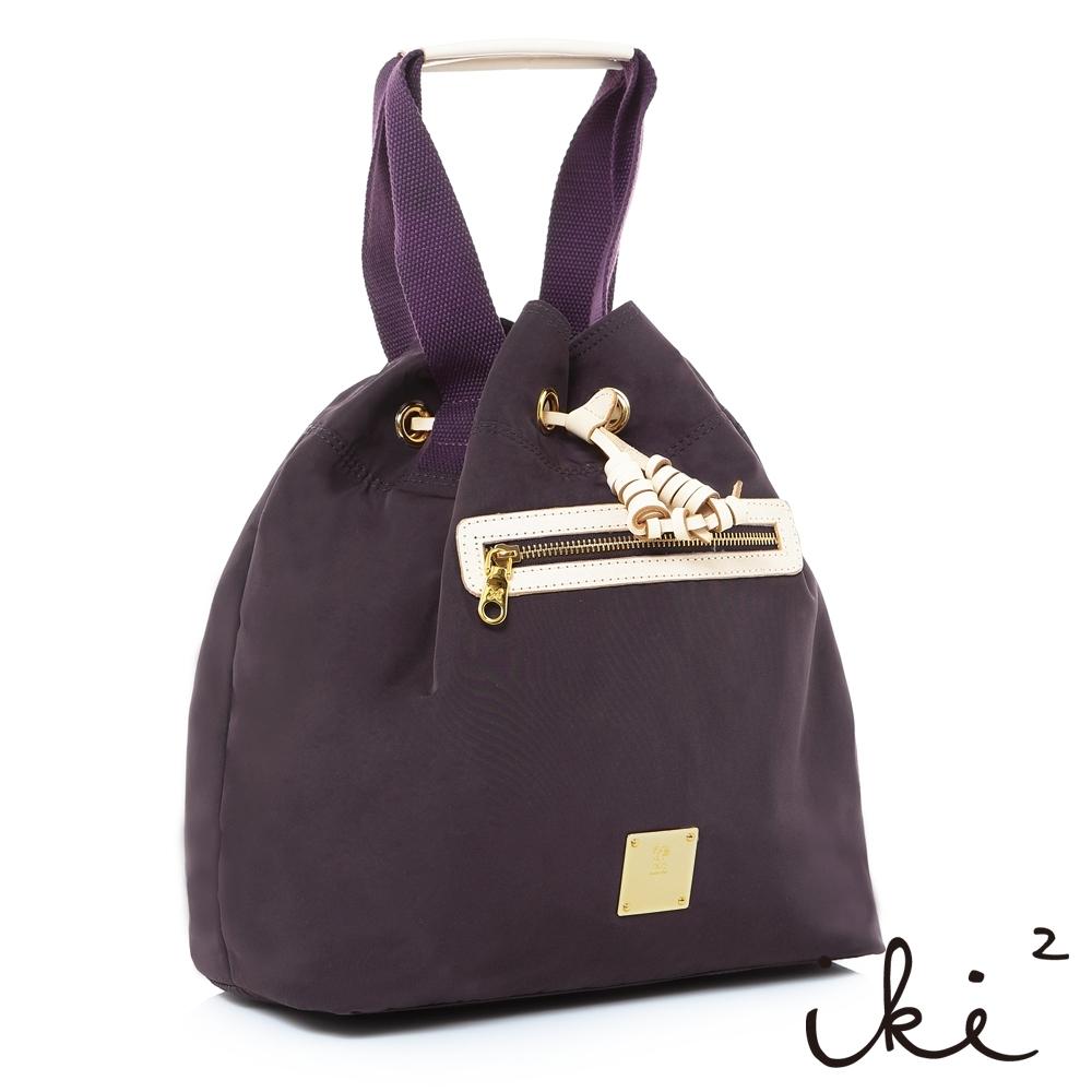 iki2流行包-輕便尼龍束口2way手提包-沉穩紫