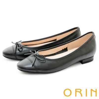 ORIN 氣質女孩真皮娃娃 女 平底鞋 黑色