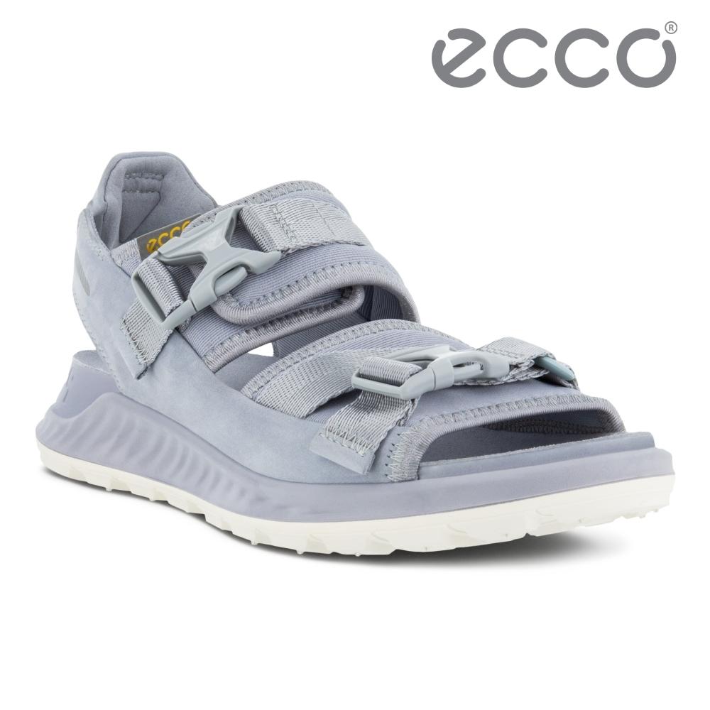 ECCO EXOWRAP W 突破皮革輕巧戶外運動涼鞋 女鞋 銀灰藍