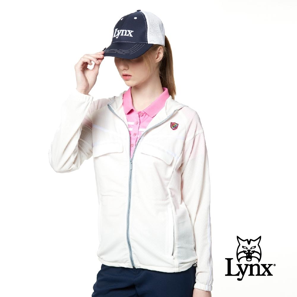 【Lynx Golf】女款彈性舒適涼爽透氣交叉壓條袋蓋連帽長袖外套-牙白色