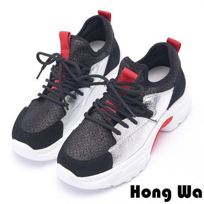 Hong Wa 時尚潮流金蔥拼接牛麂皮老爹鞋 - 黑銀