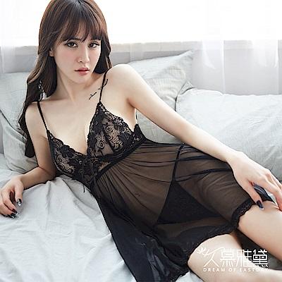 性感睡衣 輕柔蕾絲飄逸薄紗吊帶睡裙。黑色 久慕雅黛