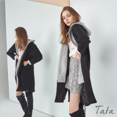 撞色拼接假兩件長版連帽外套 TATA- (M/L)