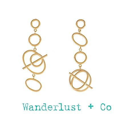 Wanderlust+Co Infusion系列 多螺旋金色耳環