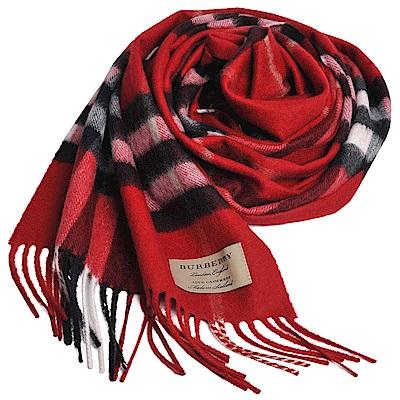 BURBERRY 經典大格紋喀什米爾羊毛圍巾(繽紛鮮紅格紋/168x30)