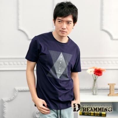 Dreamming 菱形幾何線條萊卡彈力圓領短T-共二色