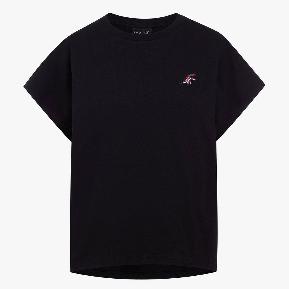 agnes b. - Sport b. 恐龍胸章圓領素色短袖上衣(女)(黑)