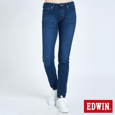 EDWIN JERSEYS 迦績 EJ2 棉中低腰窄管牛仔褲-女-原藍磨