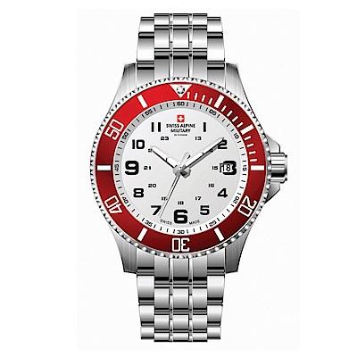 阿爾卑斯軍錶S.A.M 紅色警戒系列潛將-熱力紅/不鏽鋼鍊帶/43mm