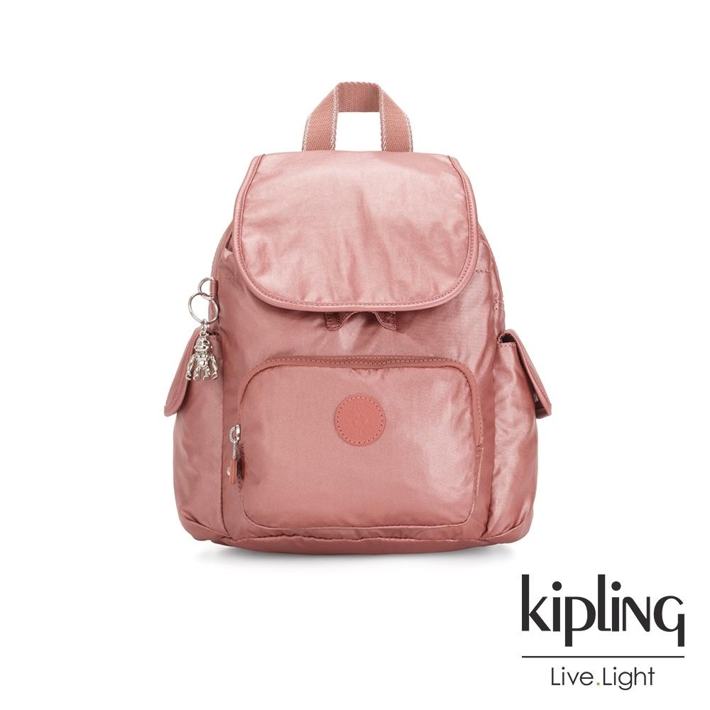 Kipling 甜美俏皮蜜桃粉拉鍊掀蓋後背包-CITY PACK MINI