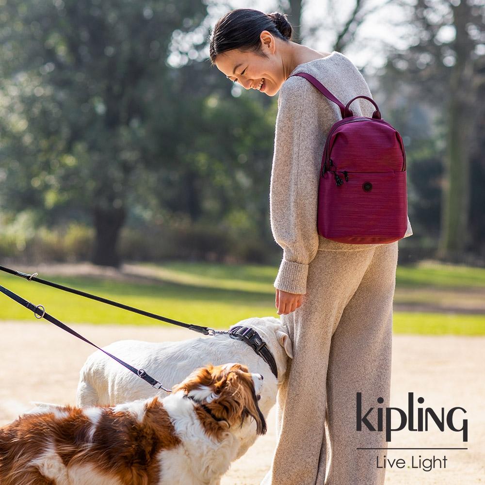 Kipling 簡約木紋莓果紅大容量拉鍊後背包-DAYANA