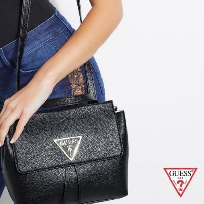 GUESS-女包-經典簡約方形肩背後背包-黑
