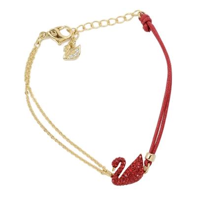 【福利品】SWAROVSKI 施華洛世奇 Iconic Swan紅色水晶天鵝造型金色手環手鍊