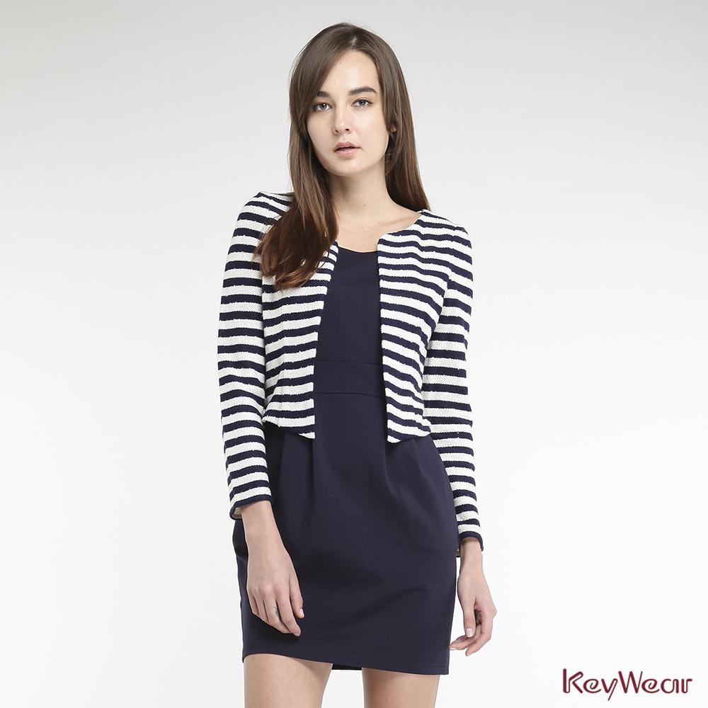 KeyWear奇威名品    精緻光澤亮片點綴假兩件洋裝-深藍色
