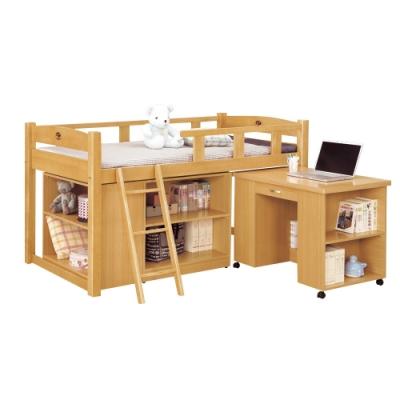 文創集 漢森3.5尺單人雙層床台(二色+雙層床+收納櫃+書桌)-111.5x198x112免組
