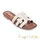 Pineapple Outfitter-Fermel 時尚皮革造型平底拖鞋-白色 product thumbnail 1