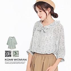 【KOMI】清新花朵綁帶雪紡襯衫‧二色