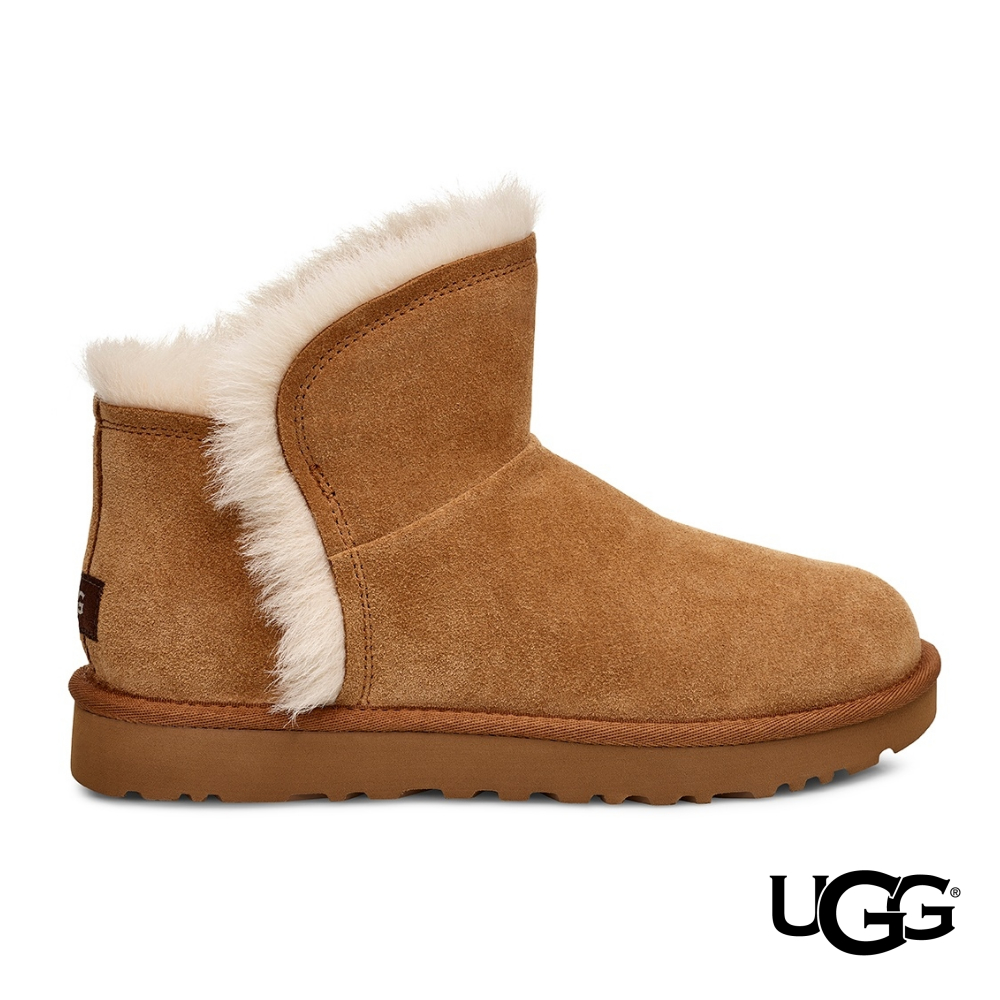 UGG雪靴 經典Fluff羊毛邊迷你短靴