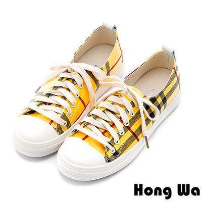 Hong Wa 經典格紋牛皮綁帶休閒鞋 - 黃