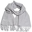 Aquascutum 義大利製100%喀什米爾經典品牌LOGO刺繡圍巾(淺灰)