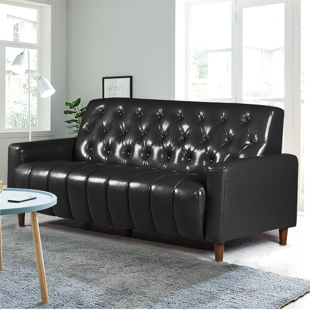 Ally愛麗-美式拿鐵-百年經典復古三人沙發175cm-三人座皮沙發-黑色