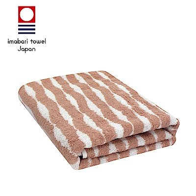 日本今治 純天然有機棉無染色浴巾(海波紋-粉藕紅)