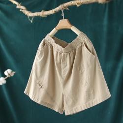 純色棉麻貼布短褲寬鬆顯瘦百搭褲子-設計所在