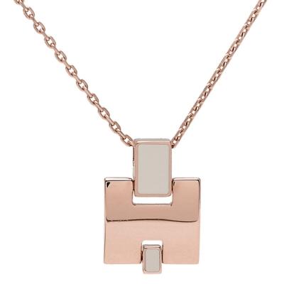HERMES 經典Eileen系列弧面寬H LOGO琺瑯項鍊(栗棕X玫瑰金)