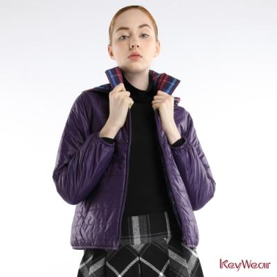 KeyWear奇威名品     時尚可拆帽T雙面穿輕保暖長袖外套-紫色