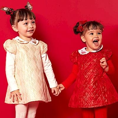 WHY AND 1/2 mini 亮蔥菱格公主袖洋裝 1Y~4Y 多色可選
