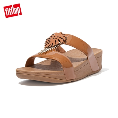 FitFlop LOTTIE JUNGLE LEAF SLIDES 熱帶葉飾H型雙帶涼鞋-女(淺褐色)