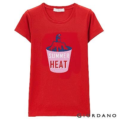 GIORDANO 女裝假期休閒印花T恤- 03 高貴紅