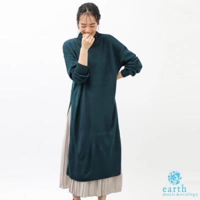 earth music 【SET ITEM】落肩針織洋裝+腰際鬆緊百摺長裙