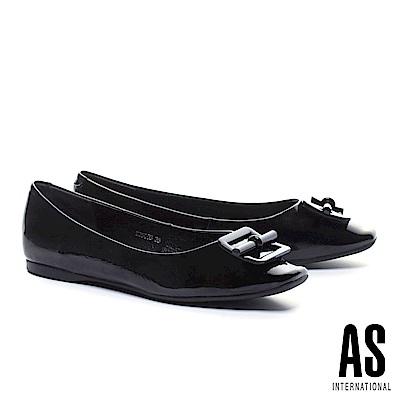 平底鞋 AS 氣質立體配飾超軟牛漆皮方頭平底鞋-黑