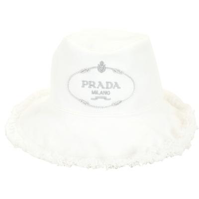 PRADA Canvas 家徽刺繡標誌帆布鬚邊漁夫帽(白色)