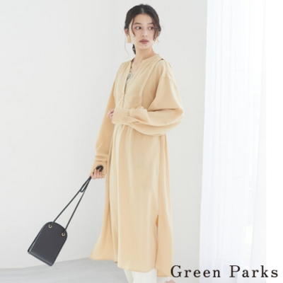 Green Parks 分層設計V領綁帶洋裝