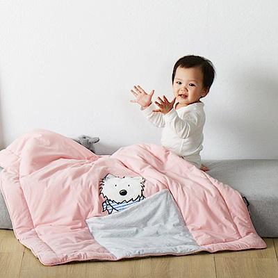 Yvonne Collection領巾狗收納抱枕車用四季被-淺粉