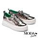 休閒鞋 MODA Luxury 特殊皺漆紋理全真皮厚底休閒鞋-古銅 product thumbnail 1