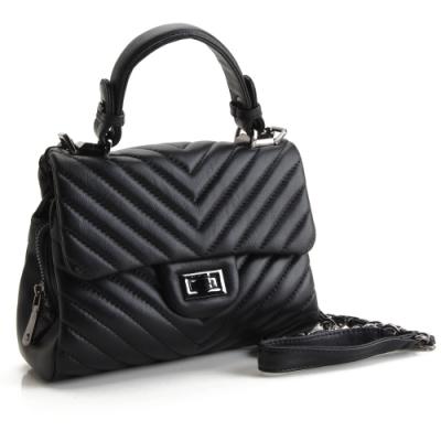 MOROM 羊皮時尚V型紋三用包(黑色)