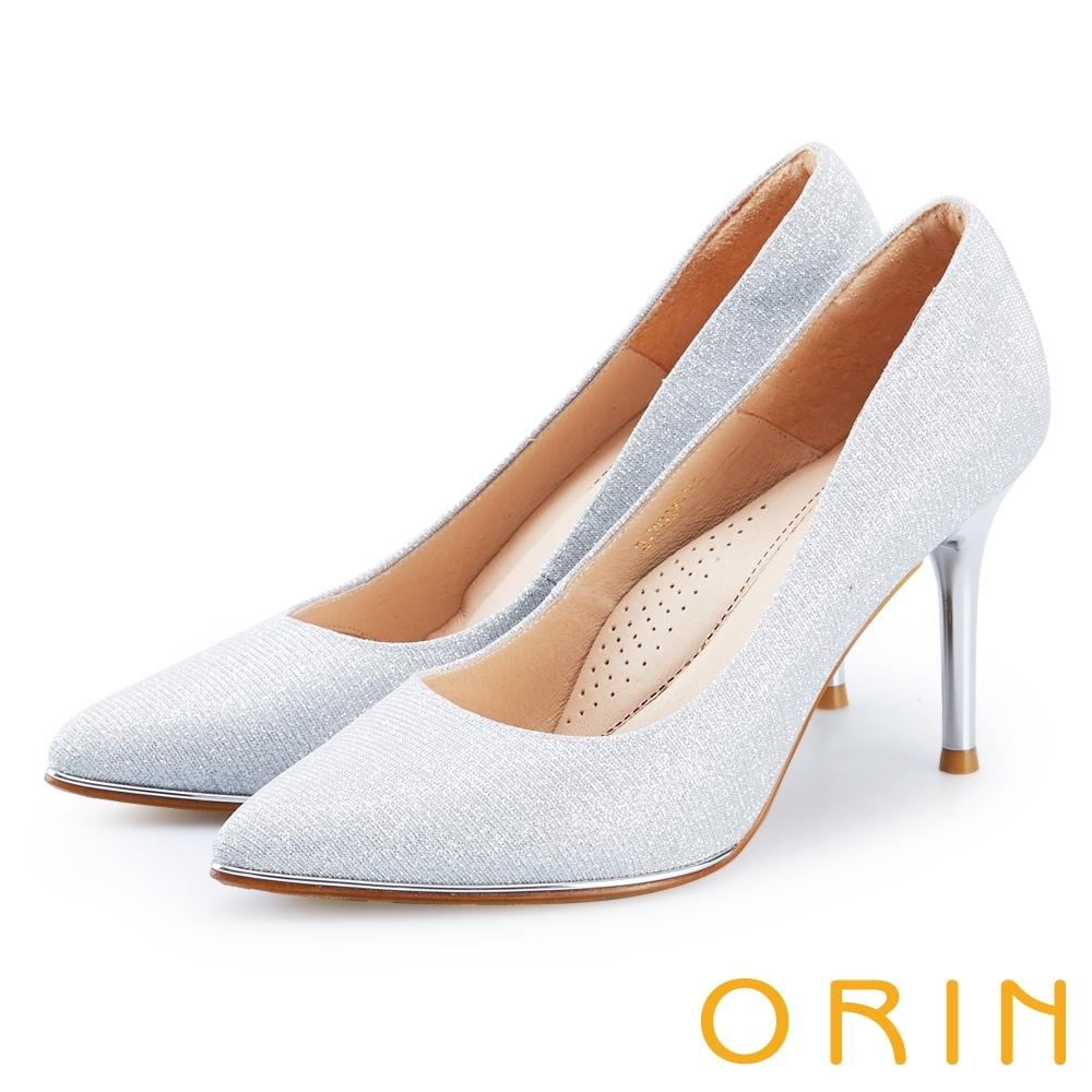 ORIN 晚宴婚嫁首選 素面尖頭金屬高跟鞋-銀灰