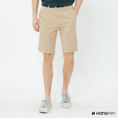 Hang Ten - 男裝 - 帆布腰帶造型西裝短褲-卡其
