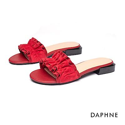 達芙妮DAPHNE 涼鞋-清新甜美波浪抓皺時尚平底拖鞋-紅色