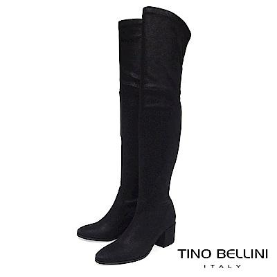 Tino Bellini 義大利進口刷色爆裂紋中跟過膝長靴 _ 黑