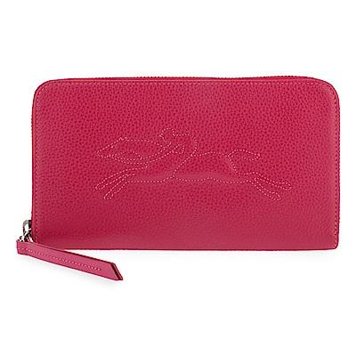 Longchamp Le Foulonne浮雕造型LOGO荔枝紋皮革拉鍊長夾-紅色
