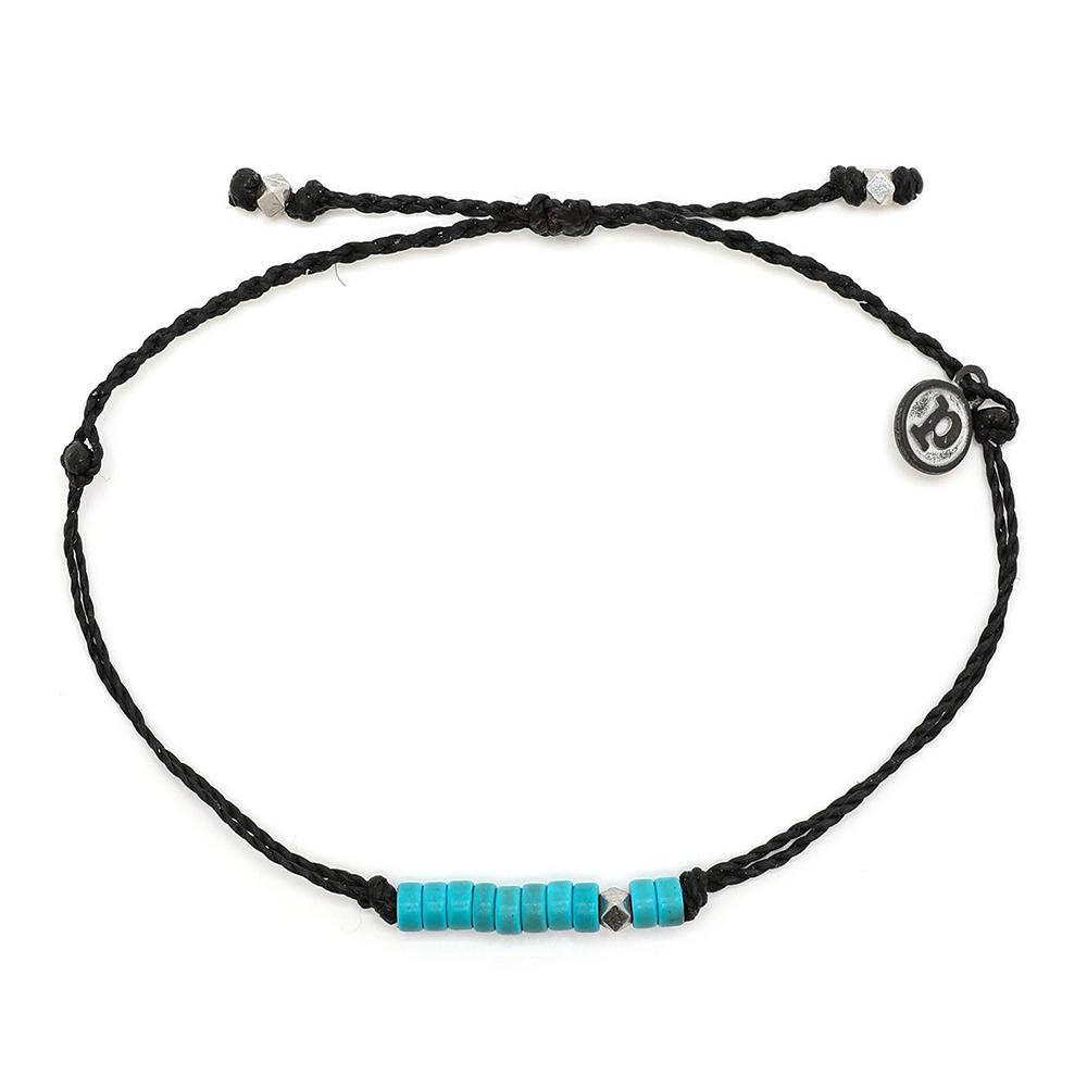 Pura Vida 美國手工 綠松石串珠 黑色臘線可調式手鍊衝浪防水手繩