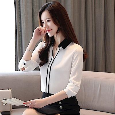 DABI 韓國風V領撞色雪紡襯衫長袖上衣
