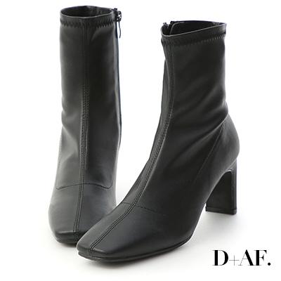 D+AF 時尚魅力.復古方頭車線扁跟襪靴*黑